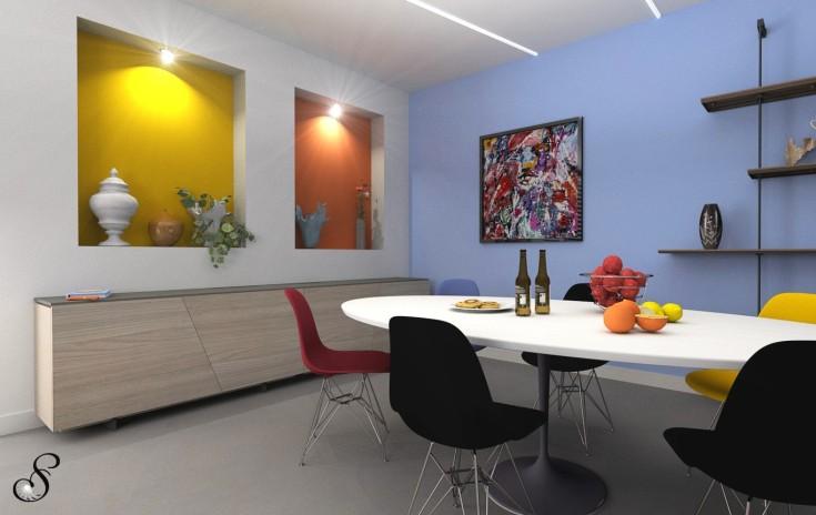 rinnovare il soggiorno - progettare l' open space - arredare casa online-colore-casa-guida