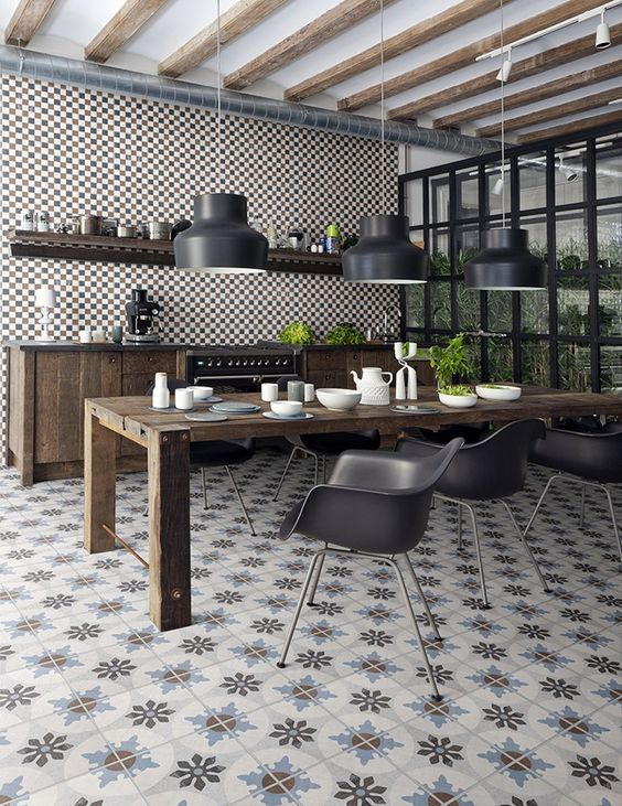 piastrelle cementine-cementine-colore in casa-arredare con i colori-pareti colorate-elementi decorativi-stile industriale