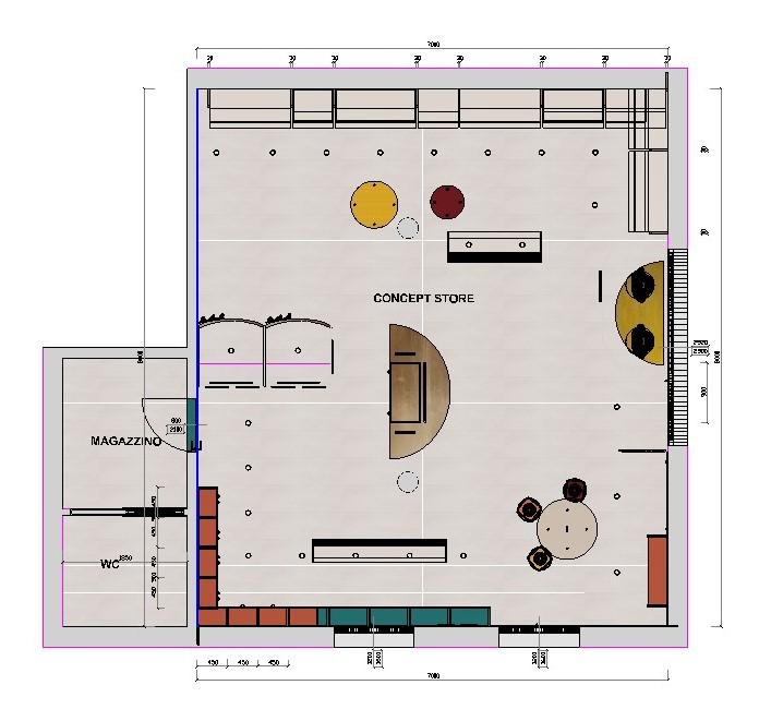 Planimetria di progetto suddivisione dello spazio in 6 aree funzionali:  - area esposizione abbigliamento e accessori - camerini prova e area specchi -area espositiva per prodotti di bellezza e scorte - area di accoglienza e di fidelizzazione per le clienti - area centrale adibita ad uso cassa - vetrina